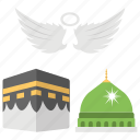 angel feathers, isra and miraj, madina, mecca, miraculous journey, mosque of prophet icon