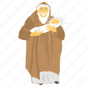 feast of presentation, man in old dress, man with baby, old man avatar icon