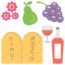 israeli holiday, jewish celebration, religious celebration, shavuot, week of feast icon