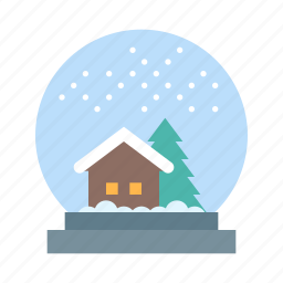 christmas, decoration, glass, globe, snow, snowglobe, xmas icon
