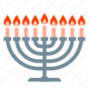 candles, hanukkah, jew, jewish, judaism, menorah icon