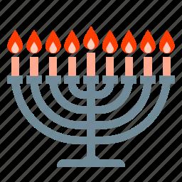 candles, hanukkah, jew, jewish, judaism, menorah icon