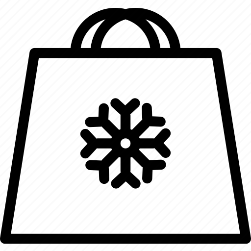 bag, shopping, snowflake, winter icon