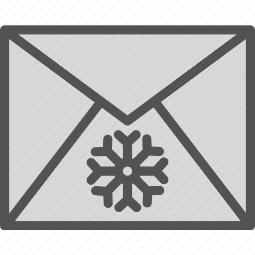 envelope, greetings, mail, snowflake, winter icon