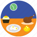 cheese, clock, dinner, eggs, holidays, occasions, turkey icon