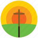 cross, easter, holidays, occasions, post, sunset icon