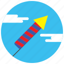 celebration, clouds, fireworks, holidays, occasions, rocket icon