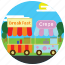 breakfast, crepe, food, holidays, occasions, stands, sun icon