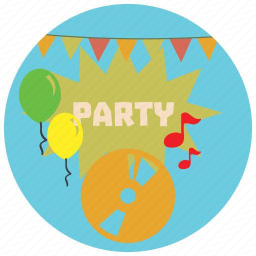 balloons, decorations, holidays, music, notes, occasions, party icon
