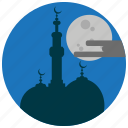 clouds, holidays, moon, mosque, occasions, prayer