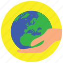 earth, hand, holidays, occasions, protect icon