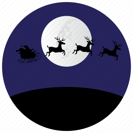 claus, holidays, moon, night, occasions, reindeer, santa icon