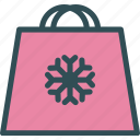 bag, shopping, snowflake, winter icon