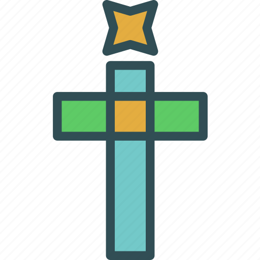 cross, decor, god, holy, star, tree, word icon