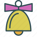 bell, christmas, decoration, holiday, ribbon, xmas icon