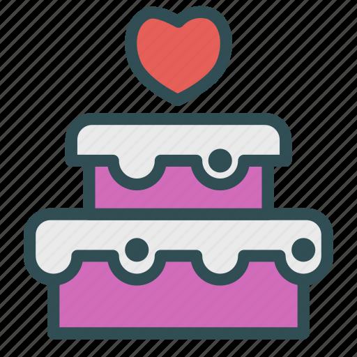 cake, heart, love, wedding icon