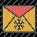 christmas, envelope, letter, snowflake, xmas icon