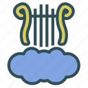 cloud, harp, melody, music icon