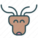 animal, avatar, deer, face, raindeer icon