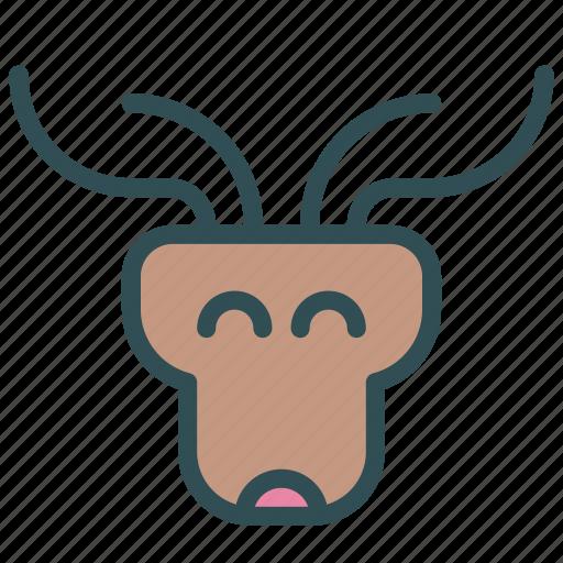 animal, avatar, deer, face, raindeer icon