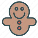bread, candy, christmas, cookie, ginger, happy, man icon