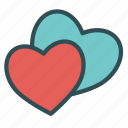 couple, heart, love, two, valentine icon