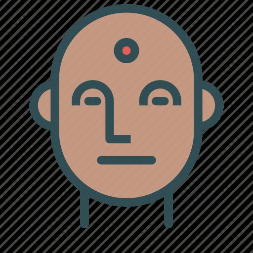 avatar, bindi, face, indian, man icon