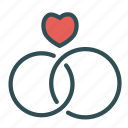 heart, love, rings, wedding icon