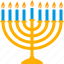 hanukkiah, hanukkah, candles, candelabrum, menorah, chanukiah icon