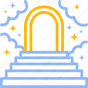clouds, door, heaven, heavenly, heavens, paradise, steps icon