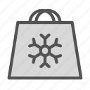 bag, christmas, holiday, shoping, snowflake, xmas icon