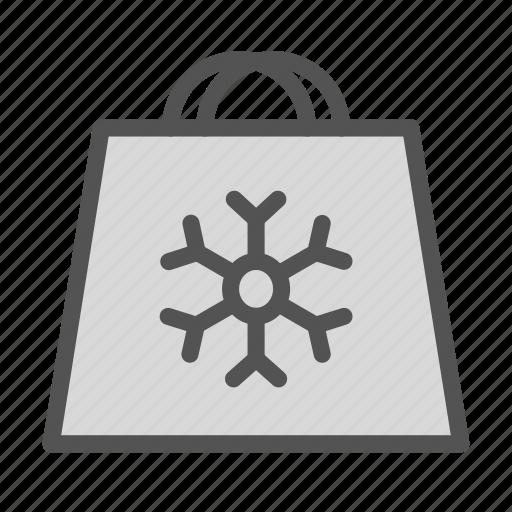 bag, christmas, holiday, shoping, snowflake, xmas icon