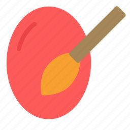 brush, easter, egg, holiday, paint icon