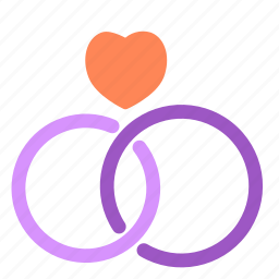 heart, love, rings, wedding icon