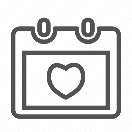 calendar, day, heart, love, valentine icon