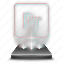 adobe, entertainment, hologram, premiere, pro icon
