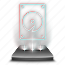 hdd, computer, data, harddisk, harddrive, storage, hologram icon
