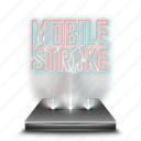 entertainment, game, hologram, mobile, smartphone, strike icon