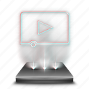 hologram, media, movies, video, videos, youtube icon