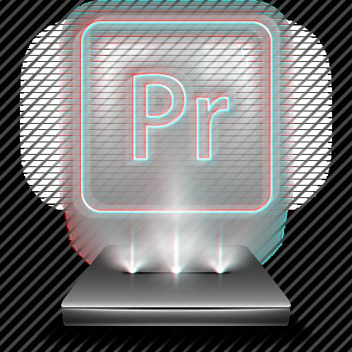 adobe, entertainment, hologram, holographic, premiere, pro icon