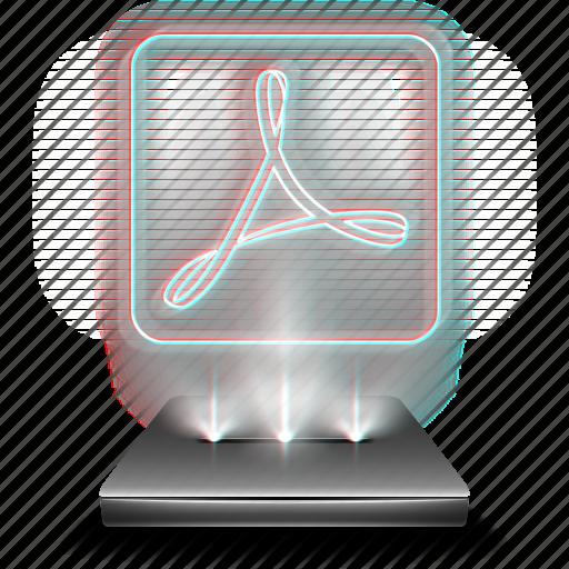 adobe, document, file, hologram, pdf, reader icon