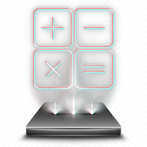 calculator, device, hologram, mathematics, tool icon