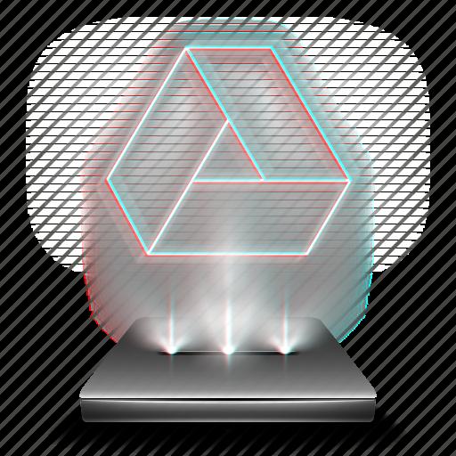 cloud, data, disk, google, hologram, storage icon