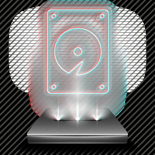 computer, data, harddisk, harddrive, hdd, hologram, storage icon
