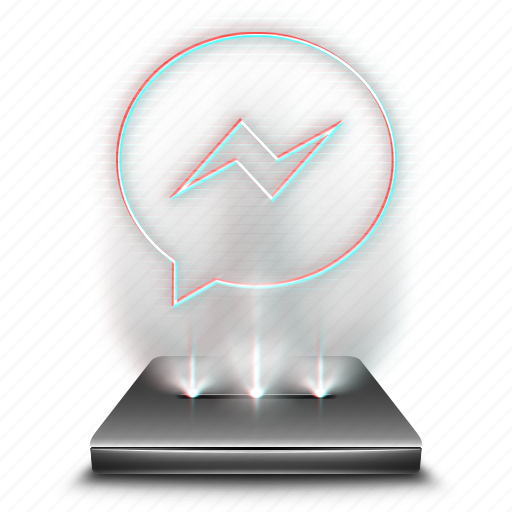chat, communication, facebook, hologram, internet, messenger, network icon