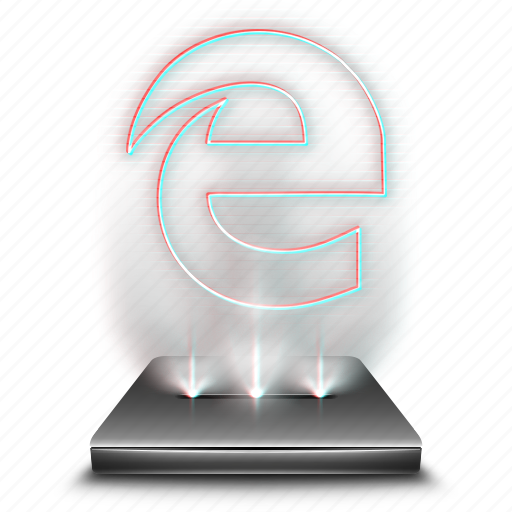 browser, edge, hologram, internet, microsoft, network, web icon