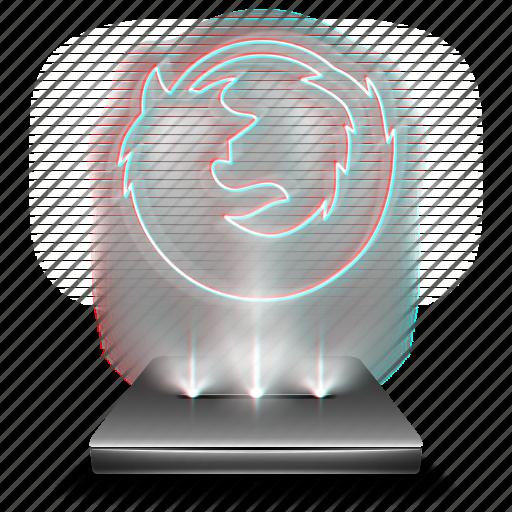 browser, firefox, hologram, holographic, internet, mozilla, web icon