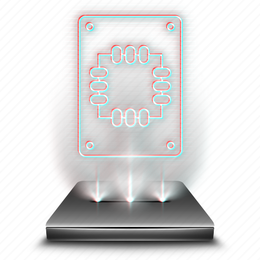 computer, device, hardware, hologram, holographic, ssd icon