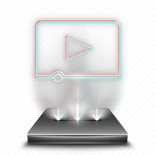 hologram, holographic, media, movies, video, videos, youtube icon