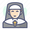 christian, christianity, church, holy, nun, religion icon
